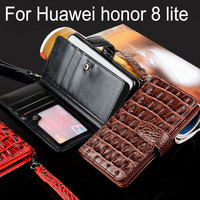 For Huawei Honor 8 Lite Case Luxury Crocodile Snake Leather Flip Business Style Wallet Cases For