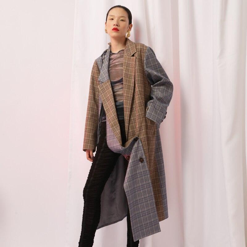 Asymétrique Manteaux Femmes Nouveau Longue Mode Tranchée Occasionnel Pour Plaid Costume Coupe Automne 2018 vent Femelle Superaen L'europe Manteau 1 tshQrd