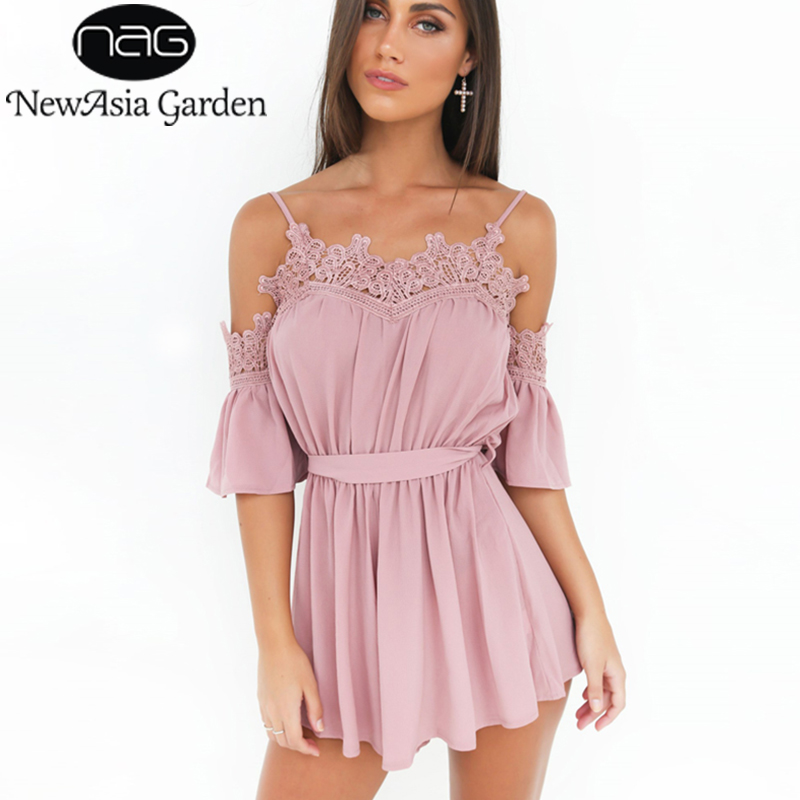 NewAsia Garden Off Shoulder Strappy Lace Insert Women Chiffon Playsuit Jumpsuit Rompers Sexy Summer Jumpsuit Casual Beach Shorts