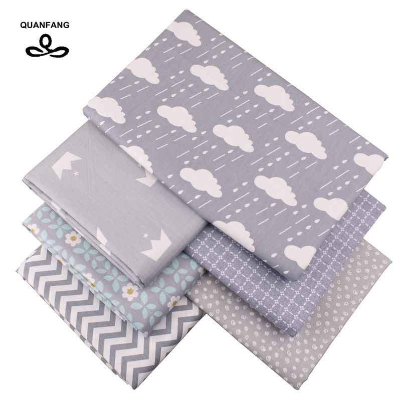 Quanfang 그레이 시리즈 인쇄 능 직물 코 튼 원단, diy/퀼트/아기/어린이 시트/베개 쿠션/완구/절반 미터 바느질