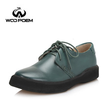 WooPoem Spring Autumn Shoes Women Breathable Cow Leather Boat Shoes Comfortable Low Heel Flats Platforms Lady Shoes 208-6