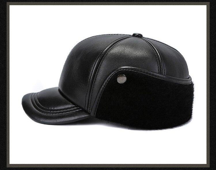 Leather hat sheep skin cap (16)