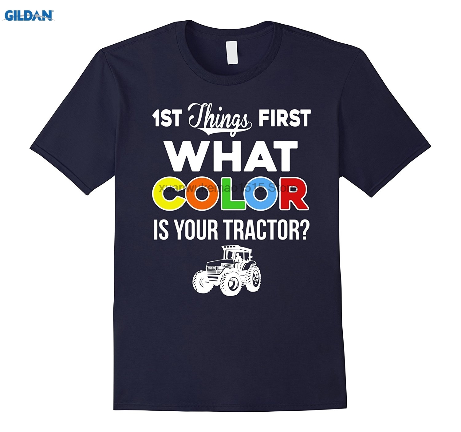 GILDAN 100% Cotton O-neck printed T-shirt What Color Is Your Tractor T-Shirt Funny Farmer Tee Gift ...