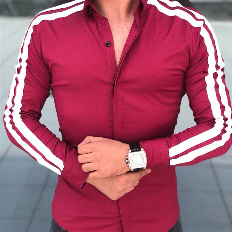 f502d8a6b76e6 Men Korean Fashion Casual Slim Fit Long Sleeve Shirts Tops Male Autumn  Lapel Button Cotton Striped Shirts-in Casual Shirts from Men's Clothing on  ...