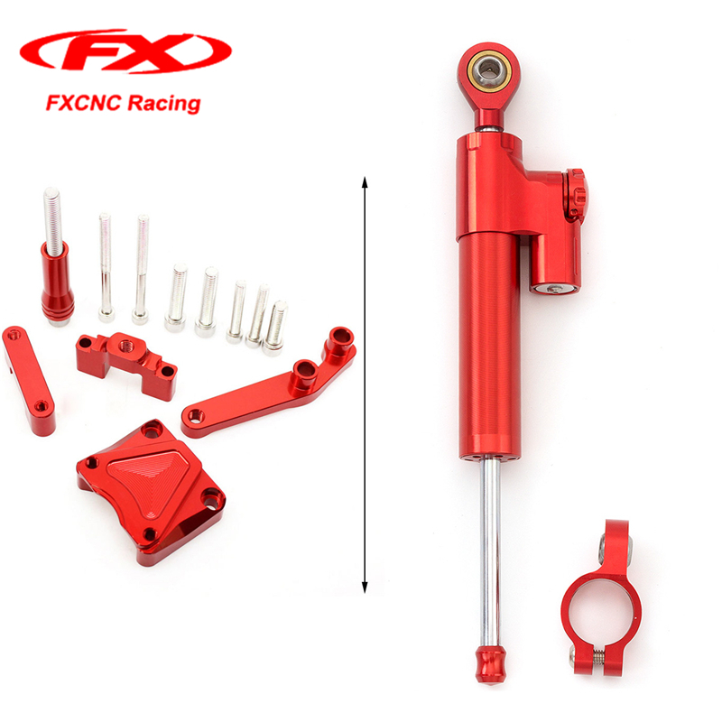 Фотография FXCNC Red Steering Damper Stabilizer Mounting Safety Control + Brackets kit for Kawasaki EX300 NINJA300 2014 2015 13-16 EX 300