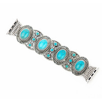 Vintage Turquoise Jewelry Stretch Bracelet For Apple Watch Band Series 3 2 1 Bohemia Style Watch