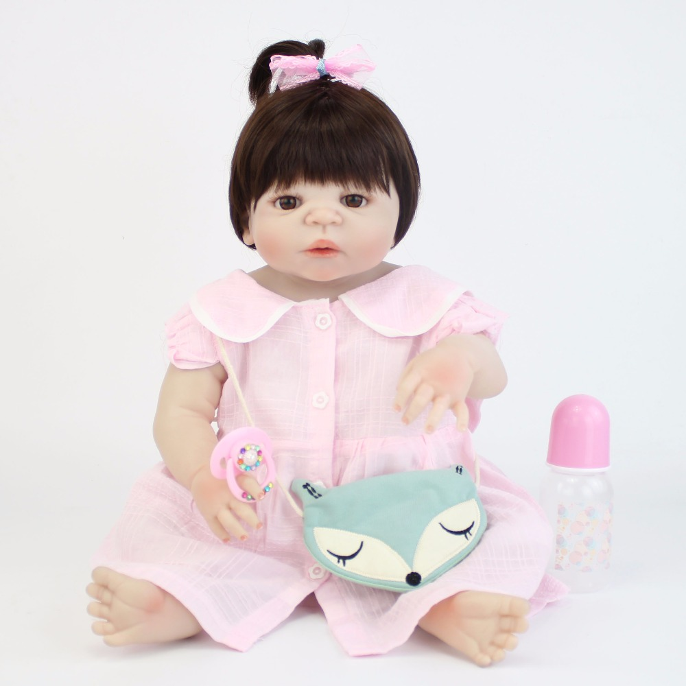 55cm Full Silicone Reborn Baby Doll Toy 22'' Vinyl Newborn Princess Babies Girl Bonecas Bebe Alive Cute Birthday Gift Present 55cm victoria soft vinyl reborn baby dolls in pink dress 22 inch full vinyl newborn bebe reborn doll princess girl birthday gift