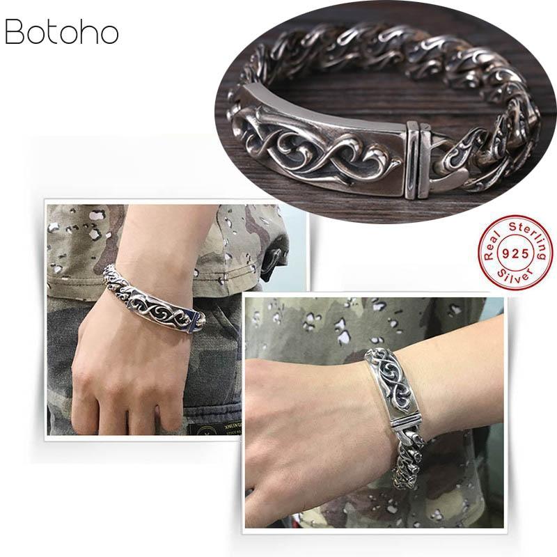 100% pur 925 argent sterling hommes Bracelets Vintage Rock Puck hip-hop lourd Thai argent mode hommes bijoux bracelet cadeau fin