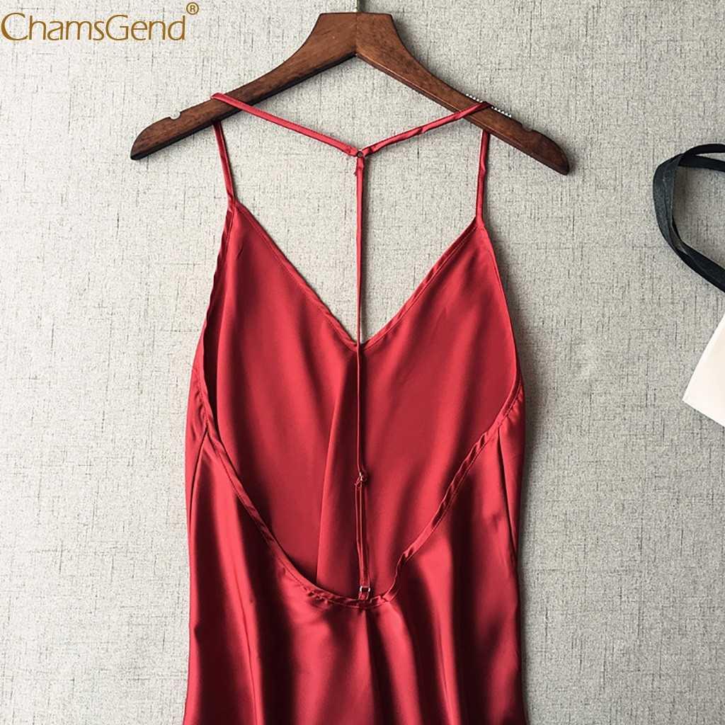 Chamsgend Sexy Frauen Satin Schlaf Kleid Sexy Linegrie V Neck Backless Weichen Bequemen Nachtwäsche Dame Nachthemd Pyjamas 90103