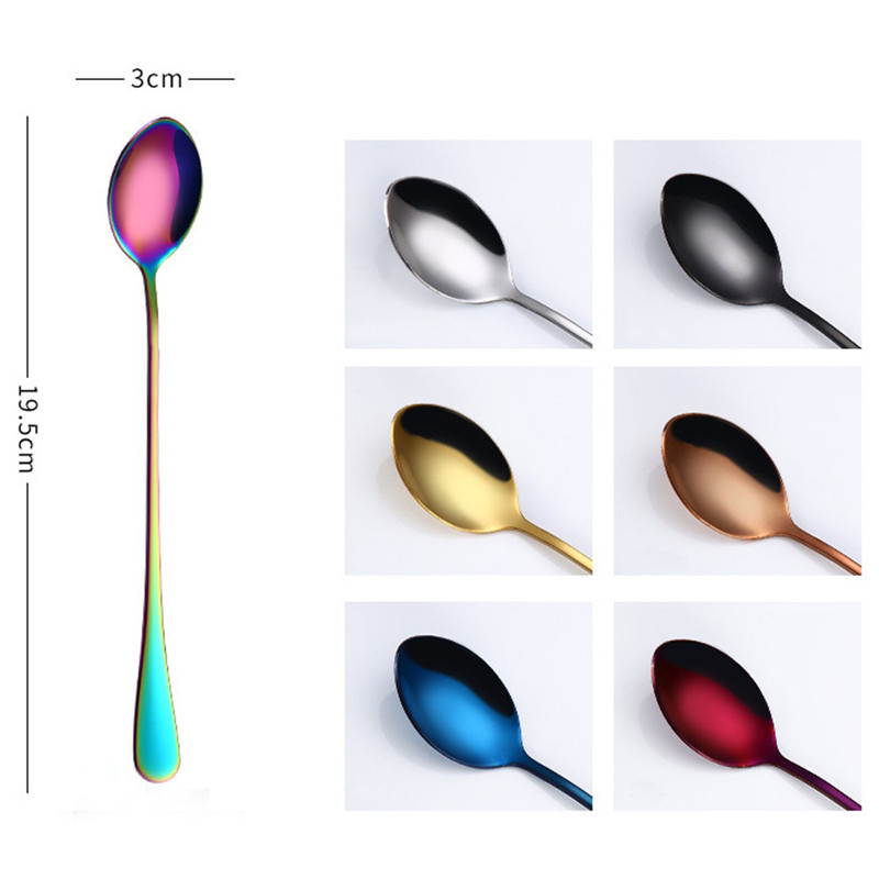 High Quality 2017 Hot Sale 1Pc/Set 4 Color High Quality Ice Cream Tea Coffee Handled Long Handle Stainless Steel Spoons Flatware