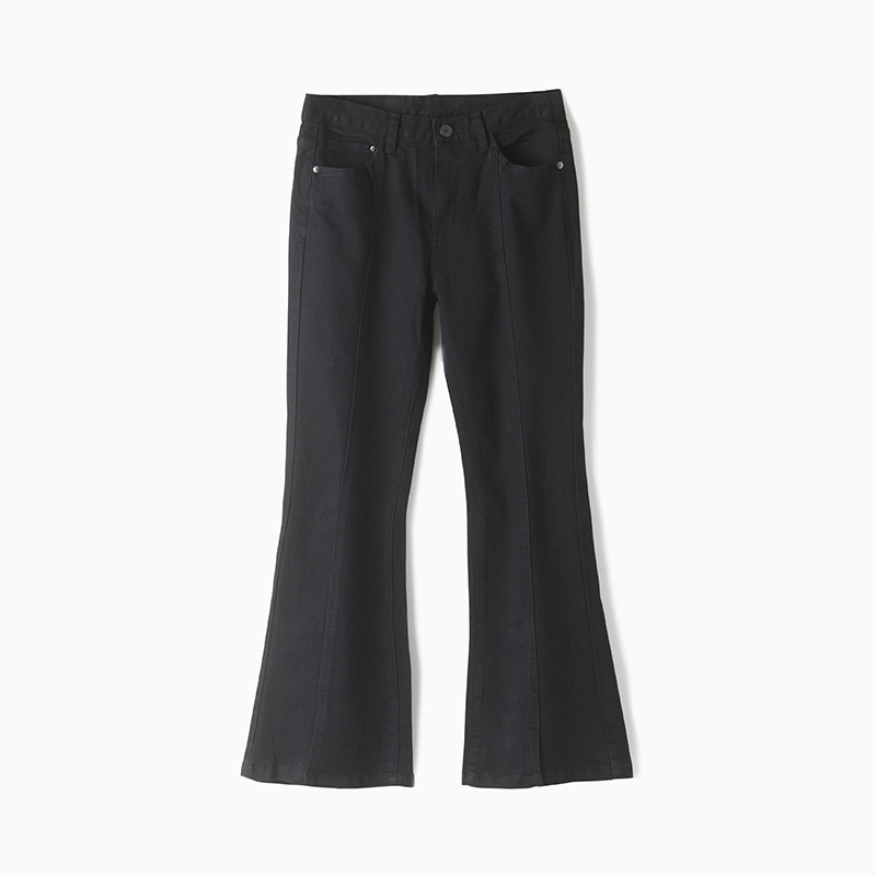 Woman's comfortable mid waist stretch cotton ankle length black trousers jeans with slits рюкзак case logic 17 3 prevailer black prev217blk mid