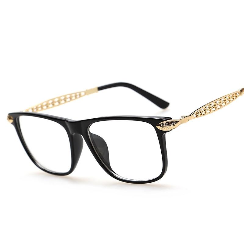 Fashion Brand Korean Glasses Frames Metal Hollow Legs Leopard Print ...