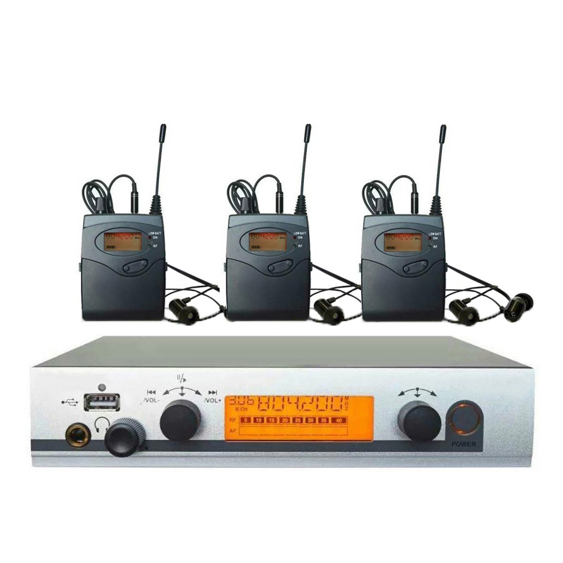 3 Receivers Pro ear monitors wireless Feedback System with in-ear headphone for Stage Performance Club Bar TV station Monitoring ukingmei uk 2050 wireless in ear monitor system sr 2050 iem personal in ear stage monitoring 2 transmitter 2 receivers