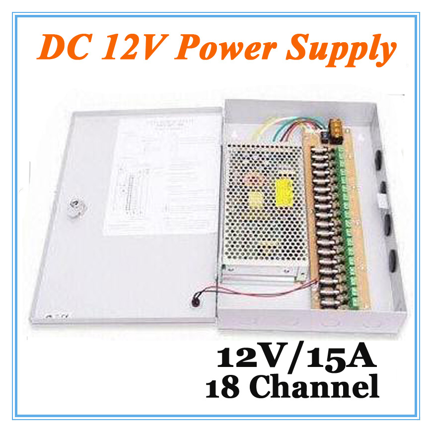 ФОТО DC12V 15A  18 Channel Power Supply Adapter for CCTV Camera CCTV System 12V Security professional Converter Adapter