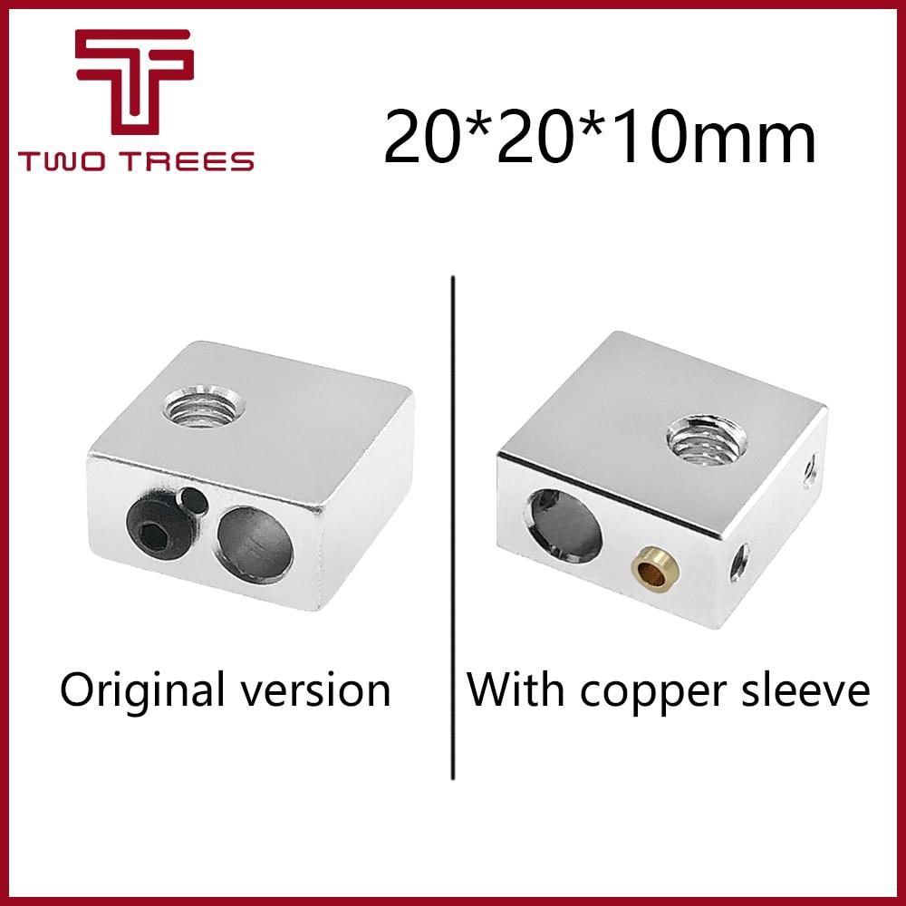 Aluminum Heater Block All-Metal 20*20*10mm for MK7 MK8 Extruder RepRap i3 DIY 3D Printer Hot End For 3D Printing