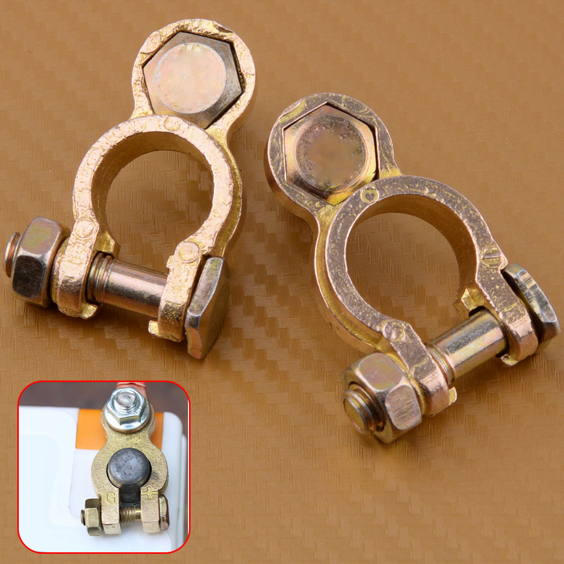 beler Positive & Negative 2pcs Battery Copper Terminal Pile Head Clamp Clips Connector