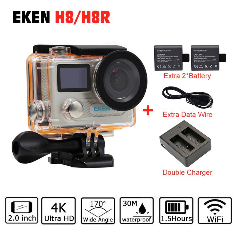 Action Camera Original EKEN H8/H8R VR360 Ultra 4K/30fps 14MP Dual LCD Mini Cam Go 30M Waterproof Pro Sports Camera Hero 5 Style original eken action camera eken h9r h9 ultra hd 4k wifi remote control sports video camcorder dvr dv go waterproof pro camera