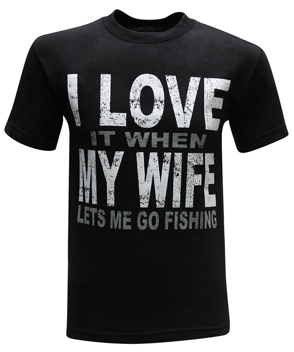 3D Print T Shirt Cotton Tops Tee I Love it when My Wife lets me go fish Men's Humor Funny T-Shirt 2018 Best T Shirts image