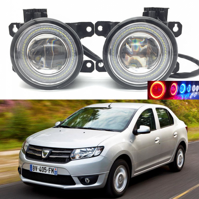 For Dacia Logan II 2 2013- 2-in-1 LED 3 Colors Angel Eyes DRL Daytime Running Lights Cut-Line Lens Fog Lights Car Styling car styling 2 in 1 led angel eyes drl daytime running lights cut line lens fog lamp for land rover freelander lr2 2007 2014