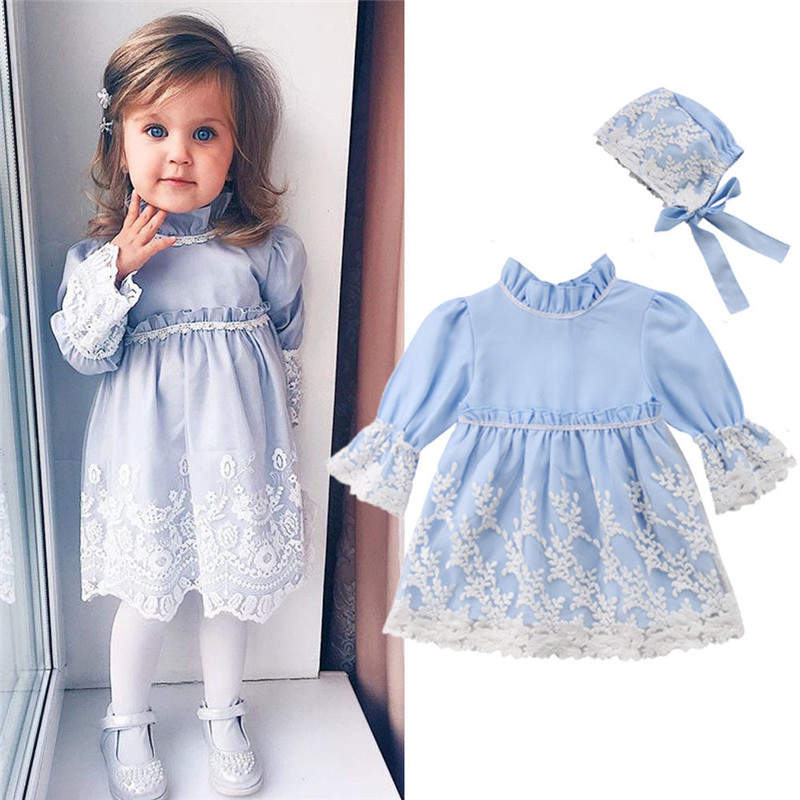 Toddler Girls Princess Kids clothes Lace Geometry Hat long sleeve Turtle Neck Party zipper Mini Dresses 2p cotton Baby outfits girl