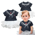 Baby Girl Sailor Suit Lace Romper Fashion Summer Newborn Navy Style baby Romper Suit Kids Baby Girls Short-Sleeve Rompers