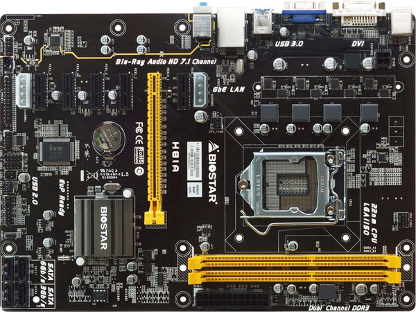 FUll NEW,BIOSTAR H81A Motherboard 6 PCI-E Video Card ATX LGA 1150 DDR3 Memory Core i3 <font><b>i5</b></font> i7 <font><b>4690</b></font> image