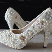 Prom Heels Braut Hochzeit Schuhe Frau High Heels Frau Strass Plateau Pumps Fashion Lady Frühling Kleid Schuhe Brautjungfer Schuhe