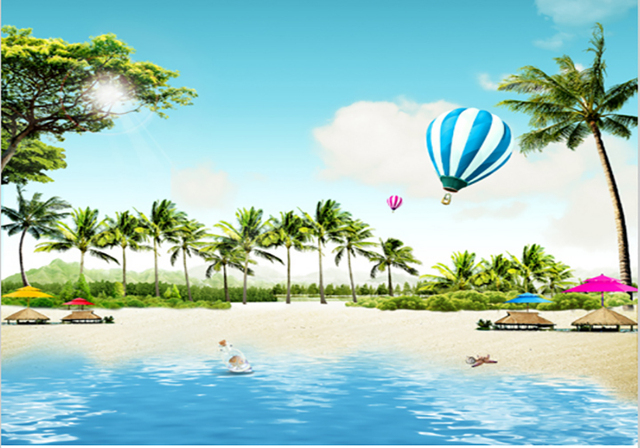 7x5ft Palm Tree Sand Beach Umbrella Resort Pool Air Balloons Custom Photo Studio Backdrop Background Banner