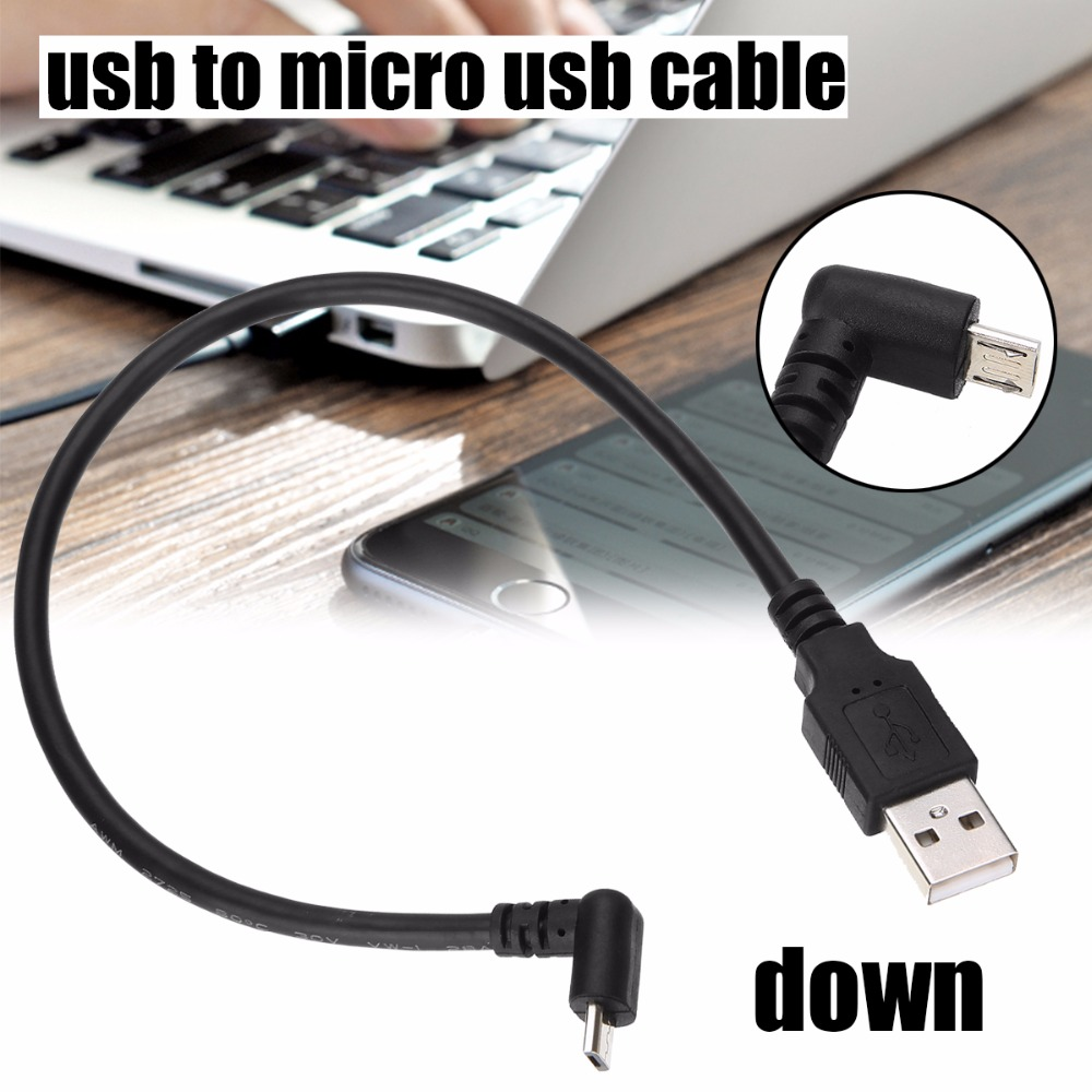 30cm USB 2.0 A Male to Left Right 90 Degree Angle Micro Usb Cable Cord USB Data Cable Adapter Connector Up/Down/Left/Right Style a 003 usb male to micro usb male data cable orange blue multi color 140cm