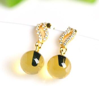 2019 new original 925 silver inlaid natural blue bead earrings female models amber beads earrings certificate