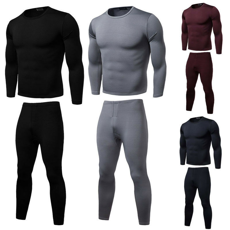 US 2pcs Men Thermal Underwear Set Winter Long Johns Warm Fit Cotton Tops Bottoms(China)