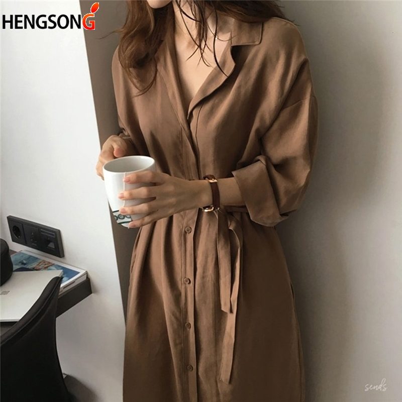 2019 Fasion Trench Coat For Women Silm Loose Lapel Pure Color Over The Knee Ladies Sunscreen Trench Coat Clothing For Women(China)