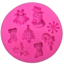Рождественская форма снеговика, силиконовая форма для помадки, кухонная форма для выпечки шоколада, кондитерских изделий, конфет, глина, инструменты для украшения кексов, FT-0130