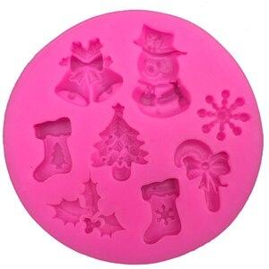 Image 1 - クリスマス雪だるま形状フォンダンシリコーン型キッチンベーキングチョコレート菓子粘土作るカップケーキ装飾ツール FT 0130