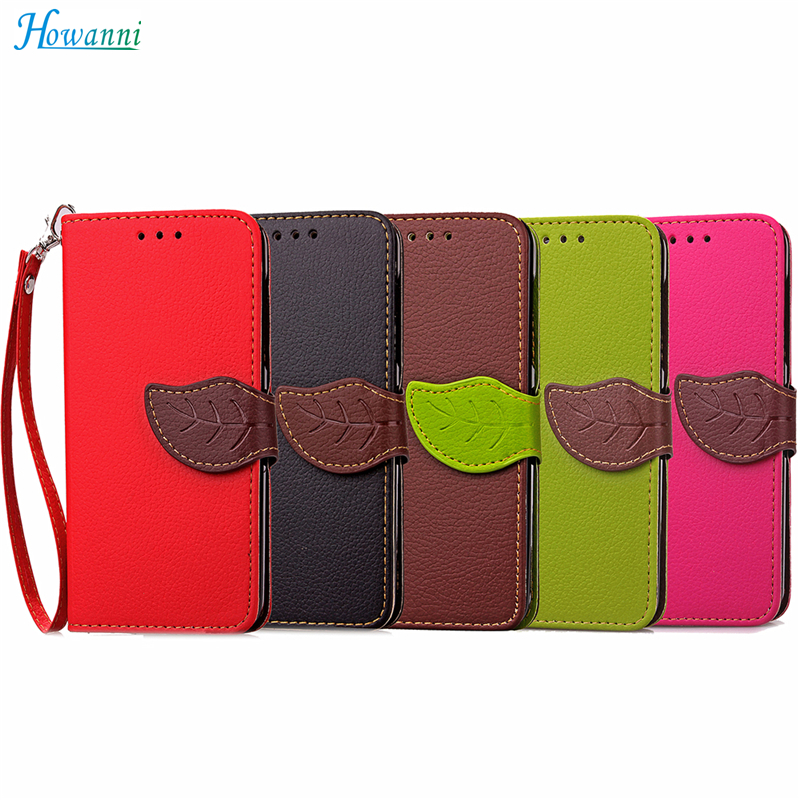 "Leather Case For Sony Xperia XA Case 5.0"" Leaf PU Leather + Silicone Wallet Flip Cover For Coque Sony XA Cover Phone Bag Capa"