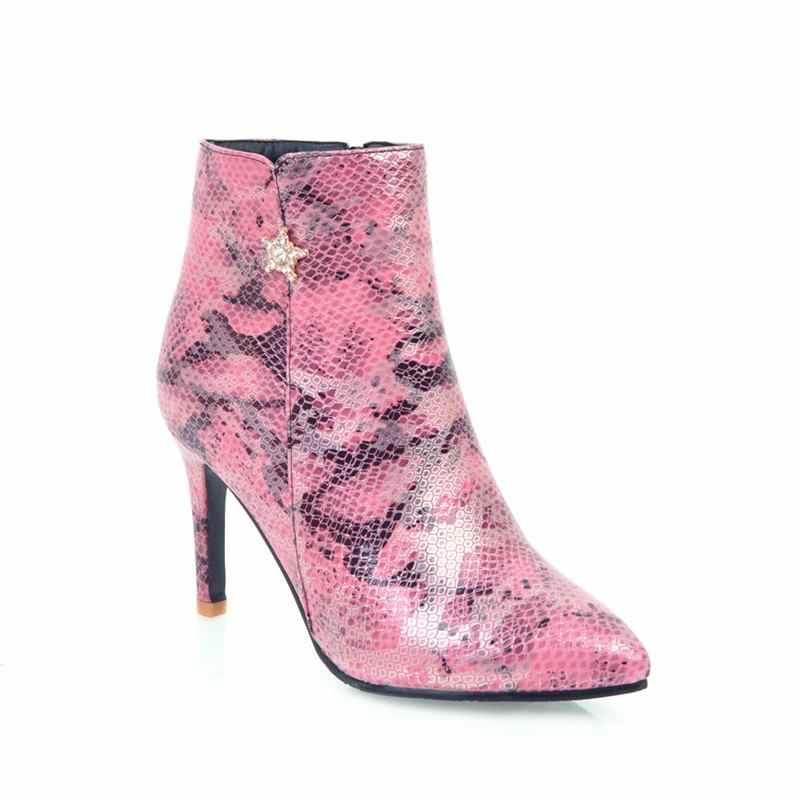 Morazora Plus Size 34-45 Nieuwe Vrouwen Laarzen Wees Teen Rits Dames Schoenen Herfst Winter Snake Pu Lederen Dames enkellaarsjes Femal