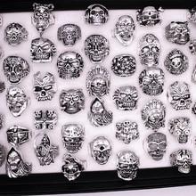 ขายส่งจำนวนมากผสม 20 pcs คุณภาพสูง Gothic สารพันขนาดใหญ่กะโหลกศีรษะสไตล์ bikers lady/vintage โบราณแหวนเงิน 17 22 มม.