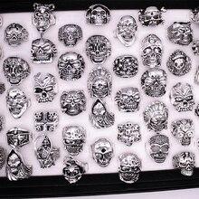 Bán buôn Rất Nhiều hỗn hợp 20 pcs top chất lượng Gothic các loại hộp sọ lớn phong cách xe đạp phụ nữ/đàn ông của cổ điển cổ bạc nhẫn 17 22mm