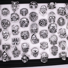 wholesale Lots mixed 20pcs top quality Gothic assorted large skull style bikers lady/mens vintage antique silver rings 17 22mm