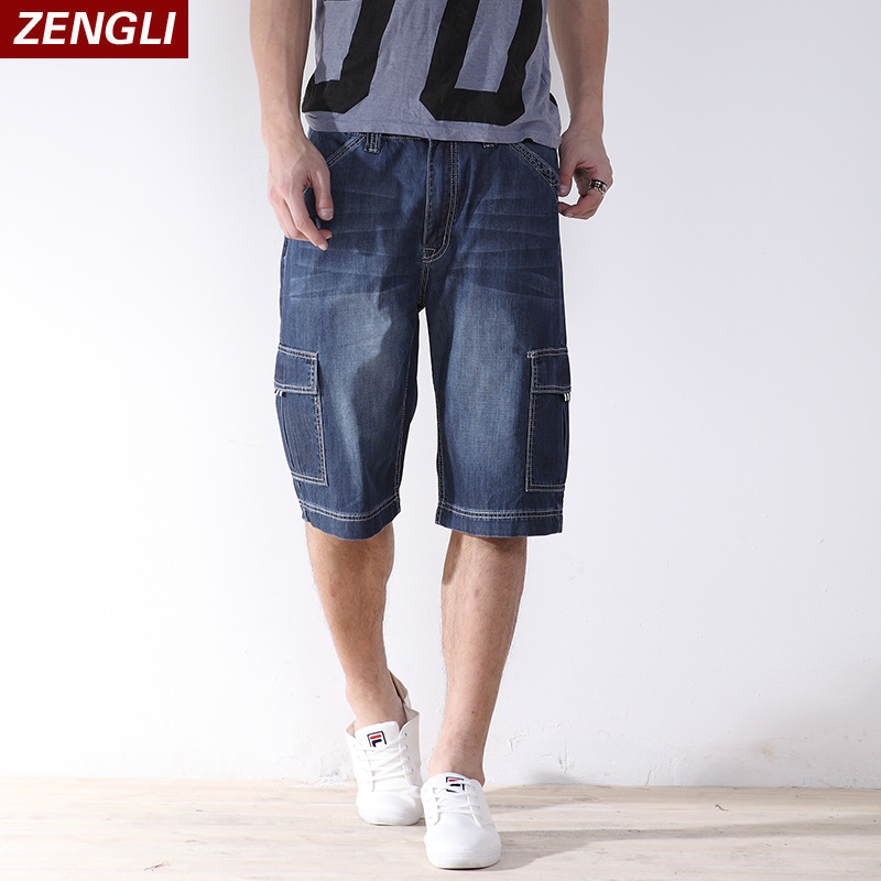 ZENGLI Mens Denim Cargo Shorts Jeans Casual Vintage Blue Pockets Biker Jeans Summer Knee ...