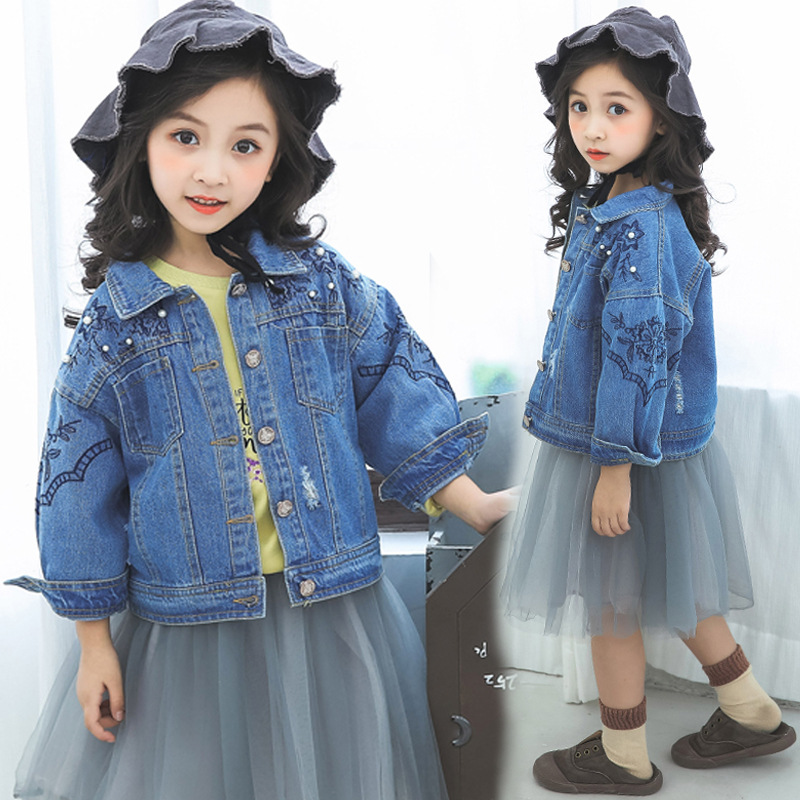 Ripped Jeans Jackets For Girls Autumn Long Sleeve Kids Coats Denim Jackets Baby Girl Fall Boutique Clothes 3 4 6 8 9 10 11 Years kanna kv6144