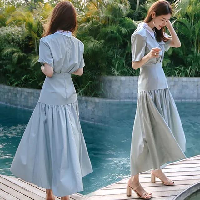 SuperAen 2019 Summer New Women Long Dress Cotton Slimming High Waist Ladies Dress Fashion Casual Short Sleeve Lapel Dresses