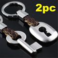 FD4846 new Creative Leather Couple Keychain Key Chain Ring Keyring Cute Gift 2PCs
