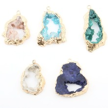Wholesale 5 Color Crystal Natural Stone Pendant Irregular DIY for Necklace or Jewelry Making