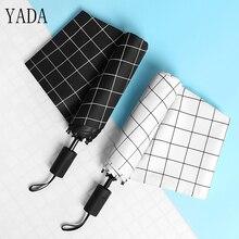 YADA 2018 Dropshipping Black & White Creative Plaid Umbrella Rain Women uv Folding For Womens Windproof Umbrellas YS058