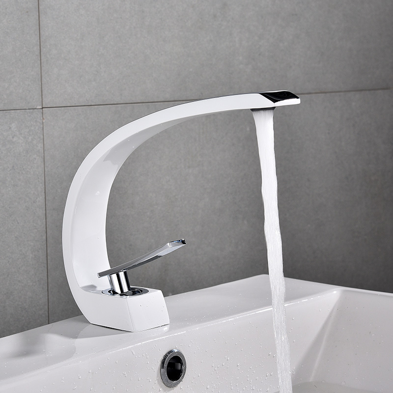 流域水栓モダン浴室のシンクミキサータップ真鍮洗面の蛇口シングルハンドル単穴エレガントなクレーン浴室 E  グループ上の 家のリフォーム からの 流域水栓 の中 1