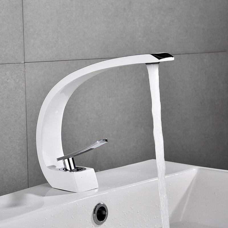 Robinets de bassin moderne salle de bains évier mitigeur robinet en laiton lavabo robinet mitigeur monotrou élégant grue pour salle de bain E