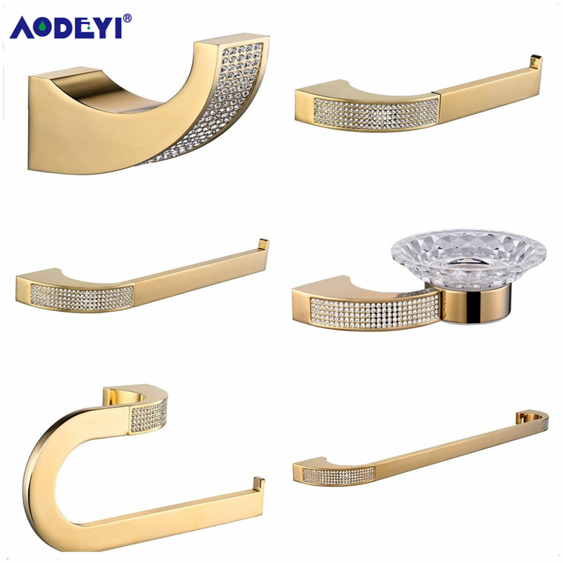 AODEYI Bathroom Accessories Paper Holder Towel Ring Bar Robe Hook Soap Dish Toothbrush Holder, Gold or Chrome Bath Hardware Set image
