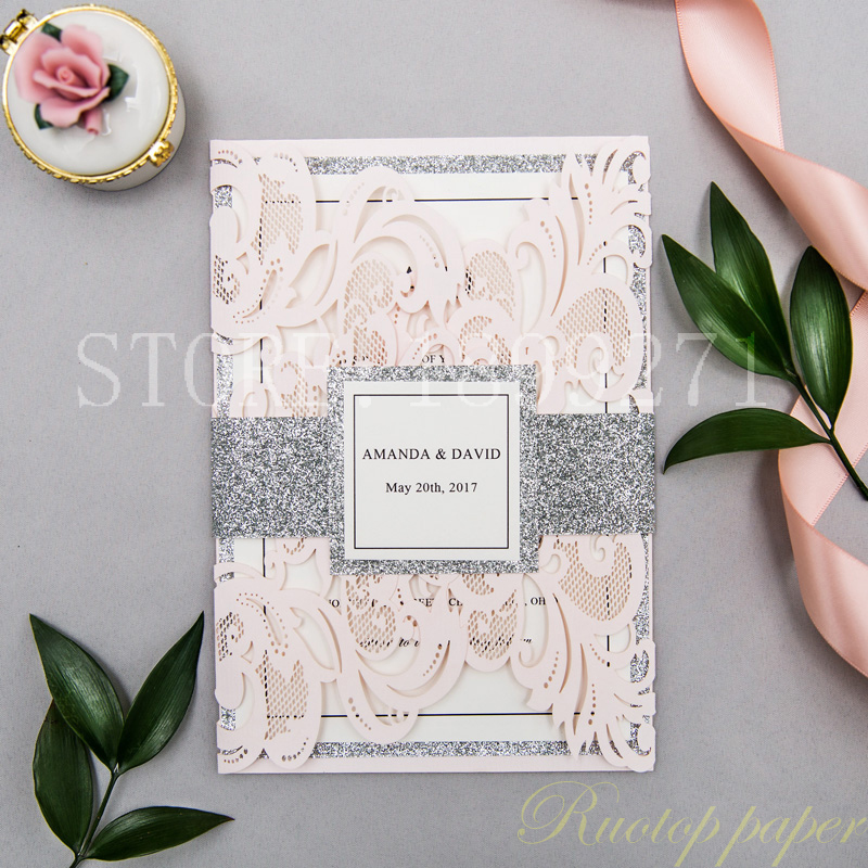 60pcs Design Floral Flower Lace Square Laser Cutting Wedding Invitation Cards postcards for Greeting Invited