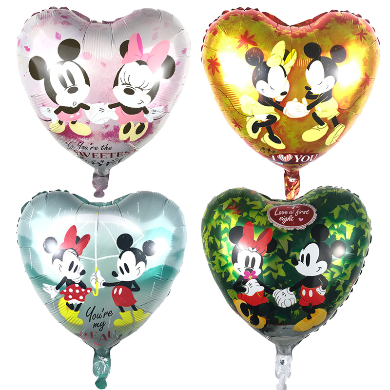 5pcs 18 inch heart shaped mickey minnie mouse Helium Foil Balloons Baby 1th birthday party decorations supplies globos toy